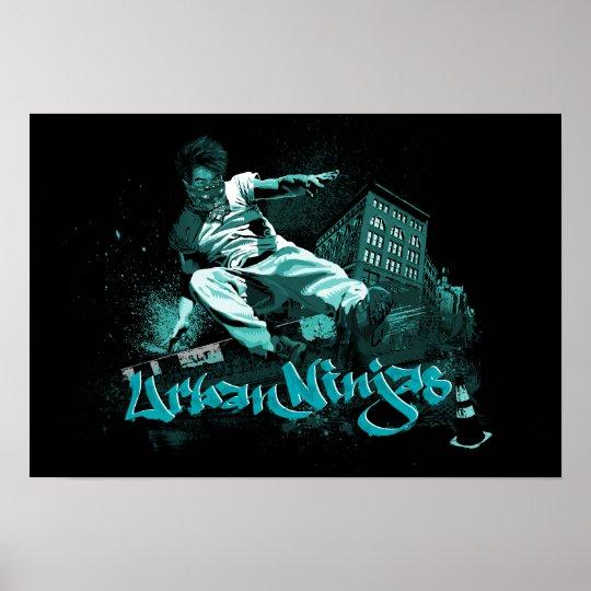 Parkour - Urban Ninjas Teal Poster