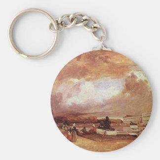 Parlerre d'eau a Versailles by Richard Parkes... Basic Round Button Key Ring