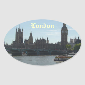 Parliament & Big Ben Oval Sticker