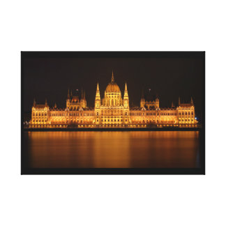 Parliament building in Budapest at night Canvas Print