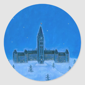 Parliament Buildings Ottawa Christmas Round Sticker