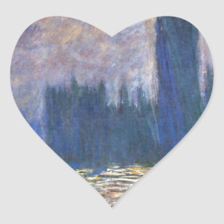 Parliament, Reflections on the Thames Claude Monet Heart Sticker
