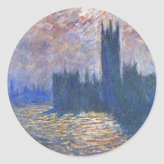 Parliament, Reflections on the Thames Claude Monet Round Sticker