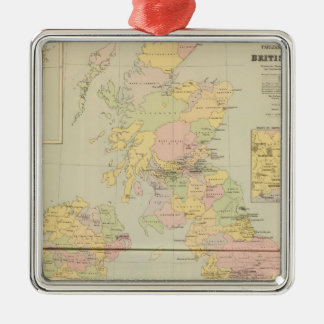 Parliamentary map, British Isles Silver-Colored Square Decoration