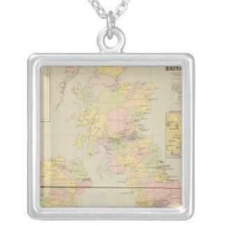Parliamentary map, British Isles Silver Plated Necklace