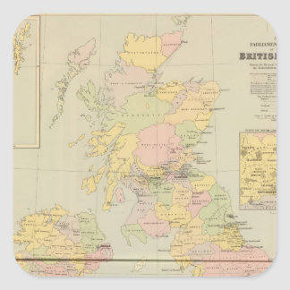 Parliamentary map, British Isles Square Sticker