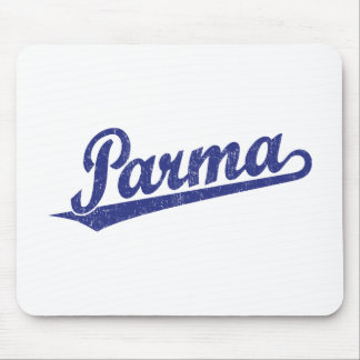 Parma script logo in blue distressed mouse pad