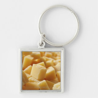 Parmigiano Reggiano cheese in cubes Silver-Colored Square Key Ring