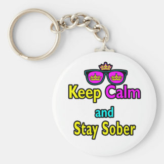 Parody Crown Sunglasses Keep Calm And Stay Sober Basic Round Button Key Ring