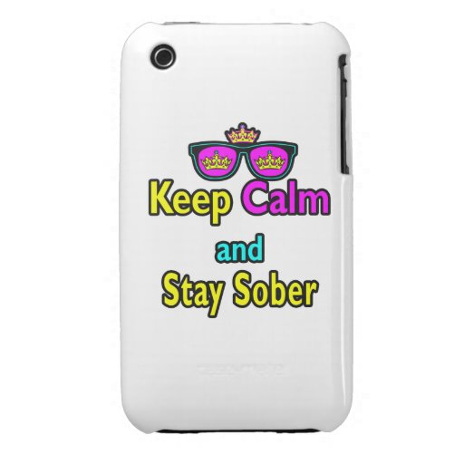Parody Crown Sunglasses Keep Calm And Stay Sober iPhone 3 Case-Mate Cases