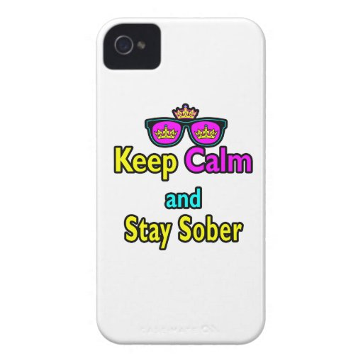 Parody Crown Sunglasses Keep Calm And Stay Sober iPhone 4 Cover