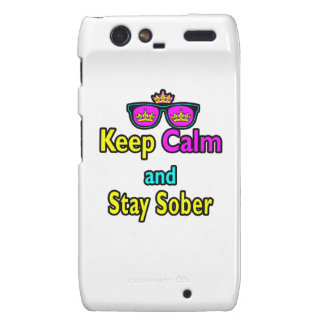 Parody Crown Sunglasses Keep Calm And Stay Sober Motorola Droid RAZR Cases