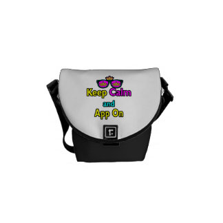 Parody Hipster Crown Sunglasses Keep Calm And App Messenger Bags