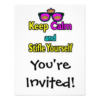 Parody Hipster Keep Calm And Stifle Yourself Custom Invitations