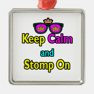 Parody Hipster Keep Calm And Stomp On Christmas Ornament