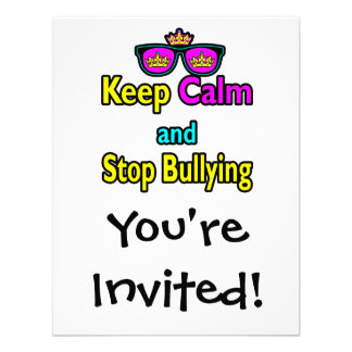 Parody Hipster Keep Calm And Stop Bullying Invitation