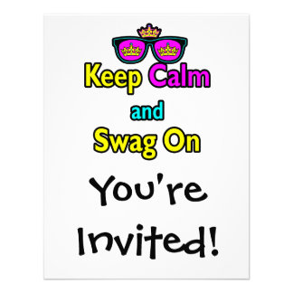 Parody Hipster Keep Calm And Swag On Personalized Invites