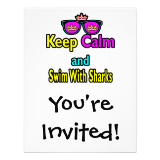 Parody Hipster Keep Calm And Swim With Sharks Custom Announcement