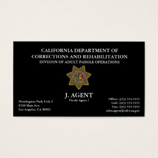 Parole Agent Business Card in Black