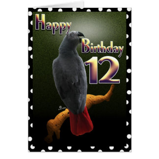Parrot African Gray /grey Happy 12 Birthday Avian Greeting Card