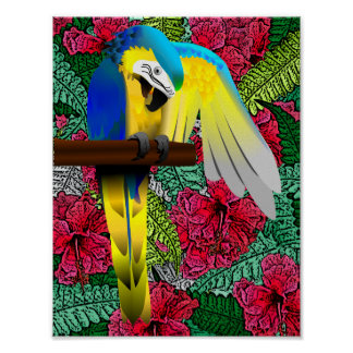 Parrot and Hibiscus Hawaiian Print Design
