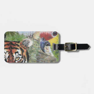 Parrot and tiger luggage tag