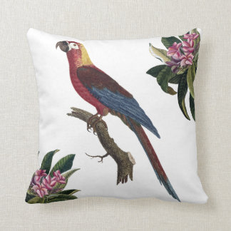 Parrot ara and rhododendron cushion