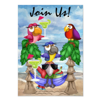 Parrot Beach Party Invitation - SRF