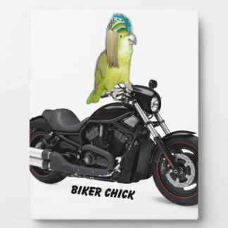 Parrot Biker Chick on Harley Davidson Plaques