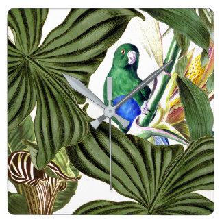 Parrot Bird Wildlife Animals Leaves Wall Clock