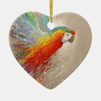 Parrot Ceramic Heart Decoration