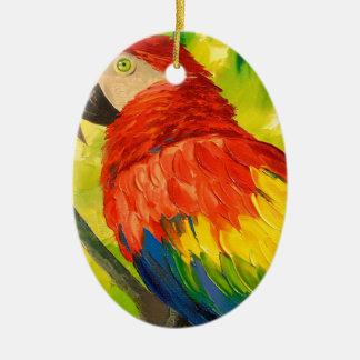 Parrot Ceramic Oval Decoration