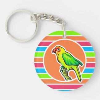 Parrot; Colorful Retro Neon Rainbow Keychain
