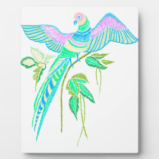 Parrot embroidery plaque