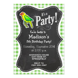 Parrot; Green Gingham Personalized Announcement