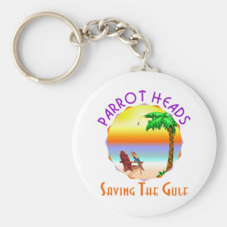 Parrot Heads Saving The Gulf from BP oil Basic Round Button Key Ring