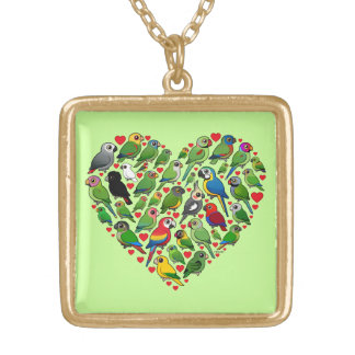Parrot Heart Gold Plated Necklace