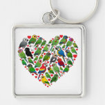 Parrot Heart Silver-Colored Square Key Ring