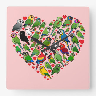 Parrot Heart Square Wall Clock