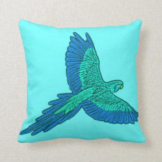 Parrot in Flight, Aqua and Cobalt Blue Throw Pillow