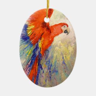 Parrot in flight ceramic oval decoration