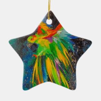 Parrot in flight ceramic star decoration