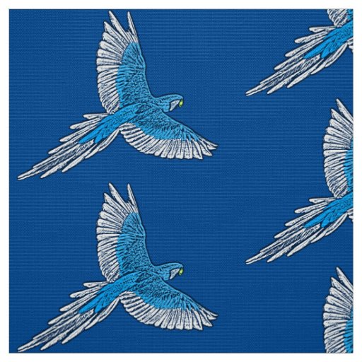 Parrot in Flight, Cobalt Blue and White Fabric