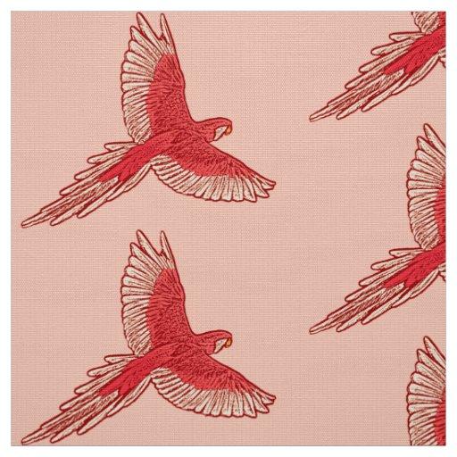 Parrot in Flight, Coral Orange and Cream Fabric