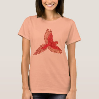 Parrot in Flight, Coral Orange and Cream T-Shirt