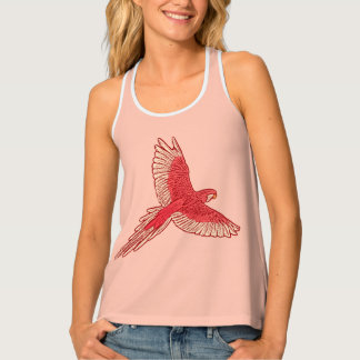 Parrot in Flight, Coral Orange and Cream Tank Top