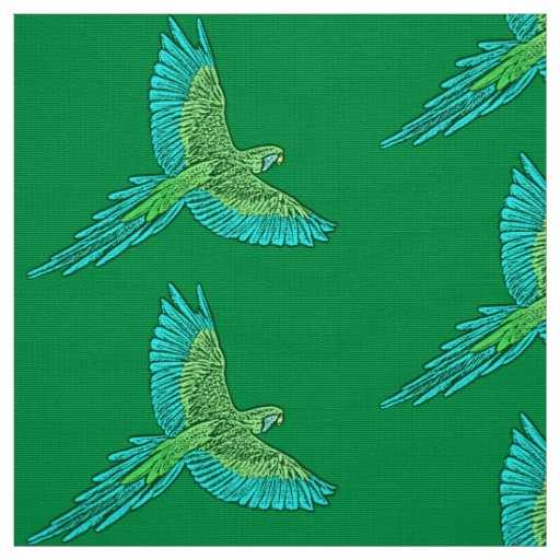 Parrot in Flight, Jade Green and Turquoise Fabric