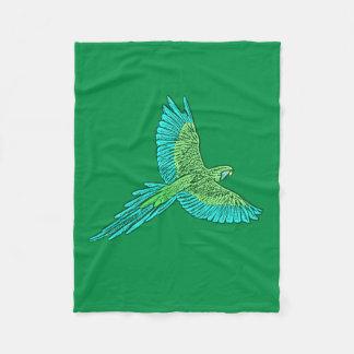 Parrot in Flight, Jade Green and Turquoise Fleece Blanket