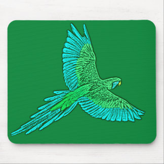 Parrot in Flight, Jade Green and Turquoise Mouse Mat