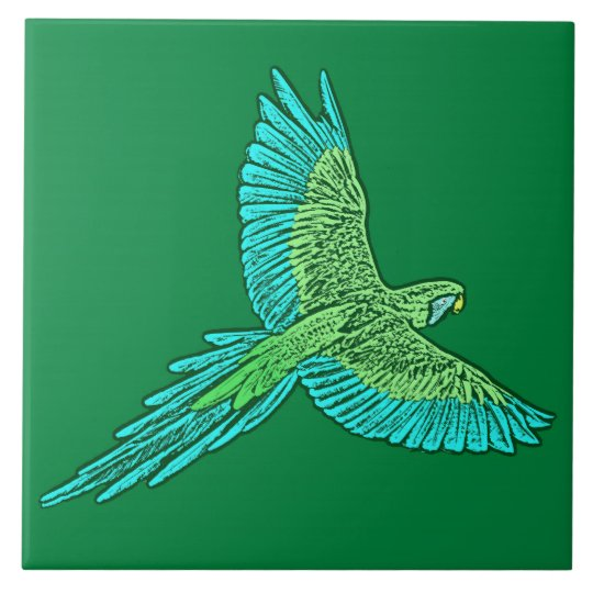 Parrot in Flight, Jade Green and Turquoise Tile